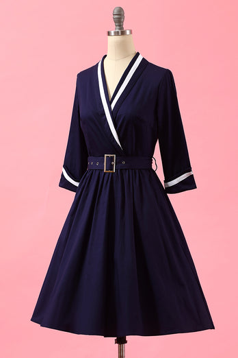 Navy Blue Patchwork V Neck Casual Wrap Dress