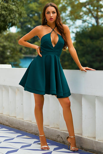 Green Halter Homecoming Dress