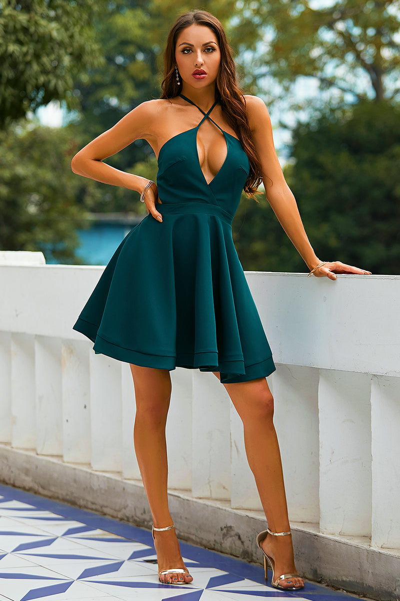 Load image into Gallery viewer, Green Halter Homecoming Dress