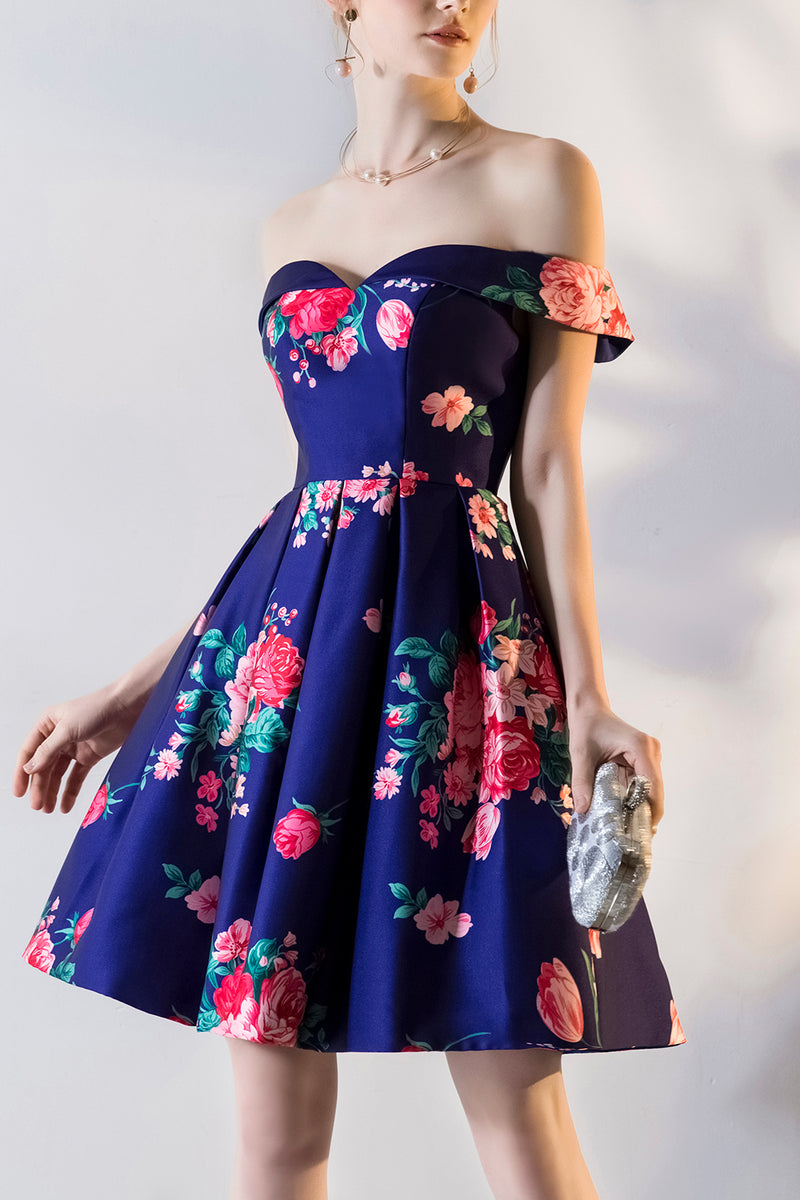 Load image into Gallery viewer, Royal Blue Print Homecoming Dresses