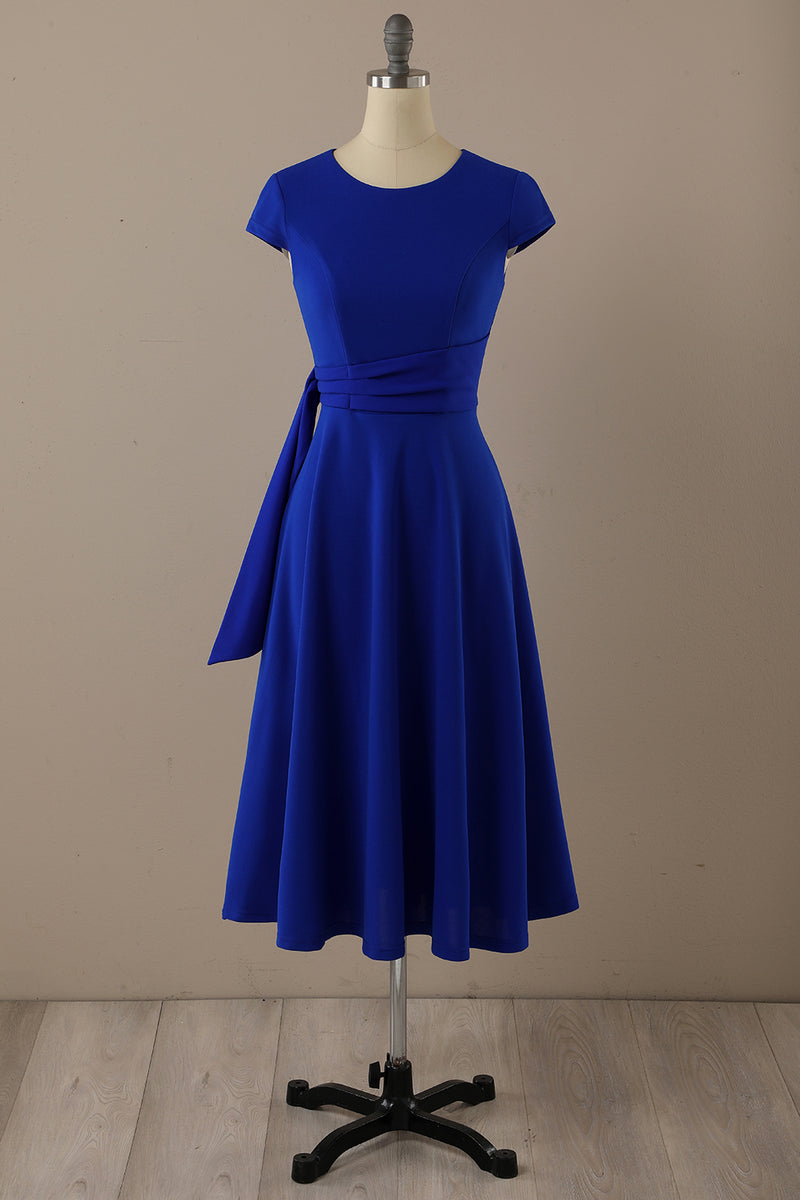 Load image into Gallery viewer, Royal Blue Round Neck Vintage Dress with Ruched