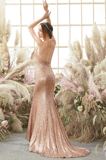 Pink Halter Sequins Prom Dress