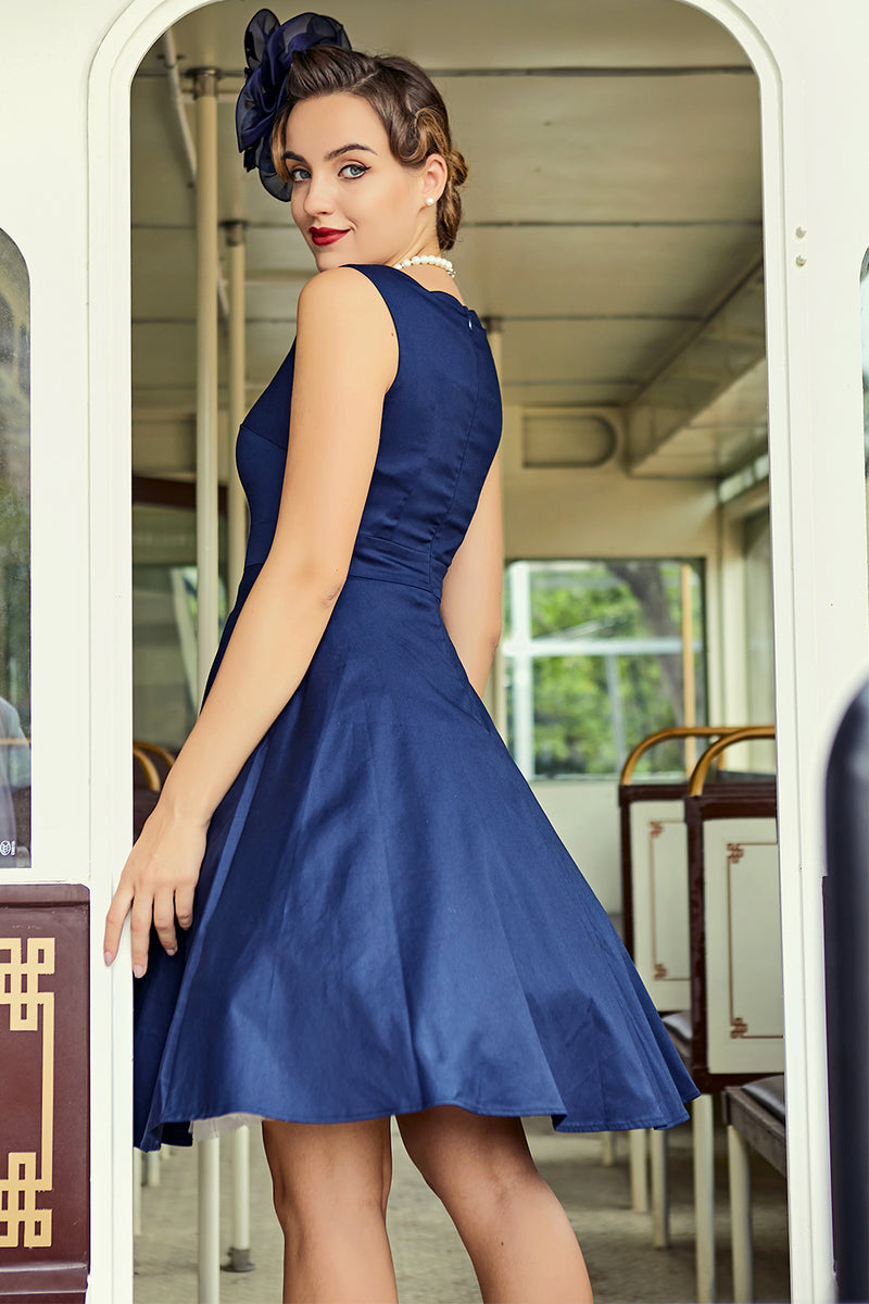 Load image into Gallery viewer, Navy Swing Dress