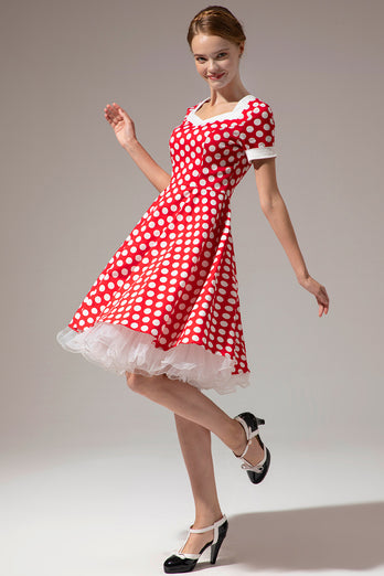 White Polka Dots Red Dress