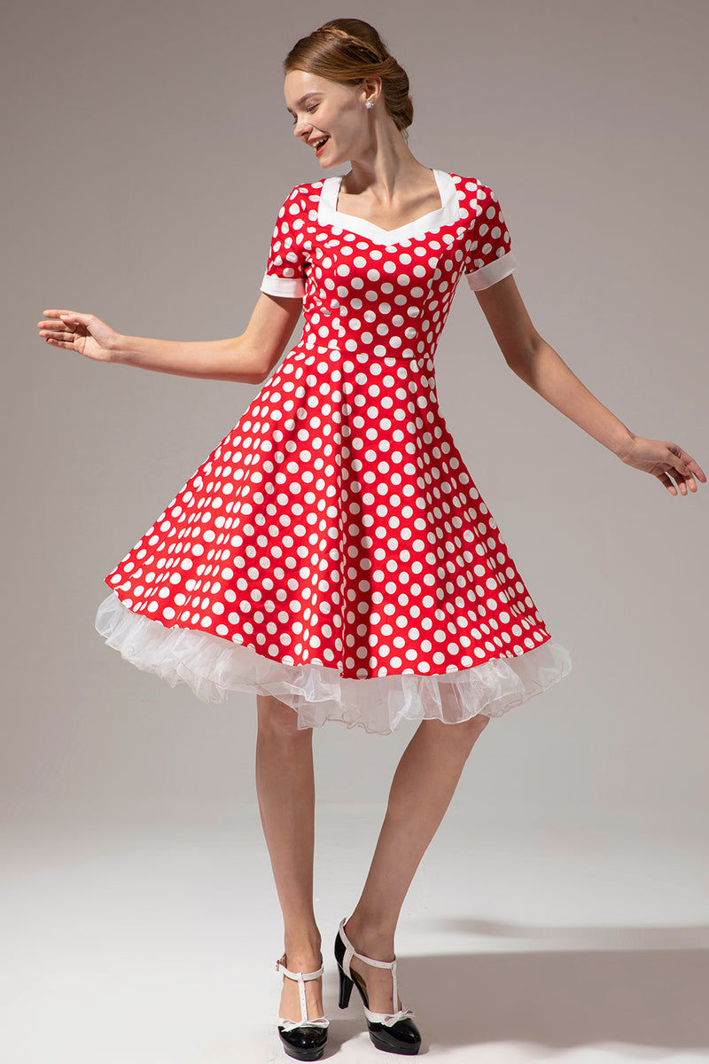 Load image into Gallery viewer, White Polka Dots Red Dress