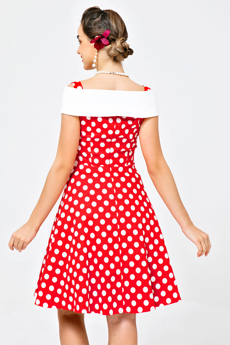 Load image into Gallery viewer, Off Shoulder Red White Dots Dress