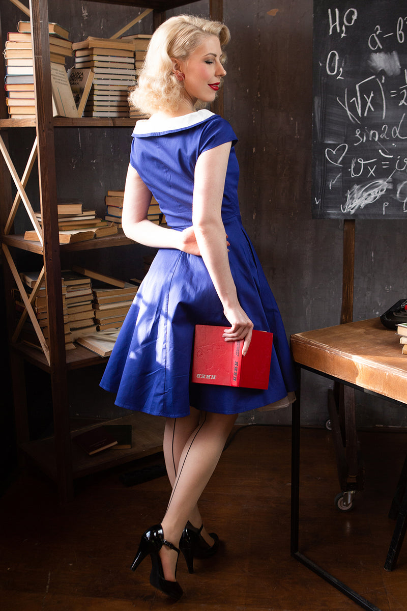 Load image into Gallery viewer, Peter Pan Collar Royal Blue Dress