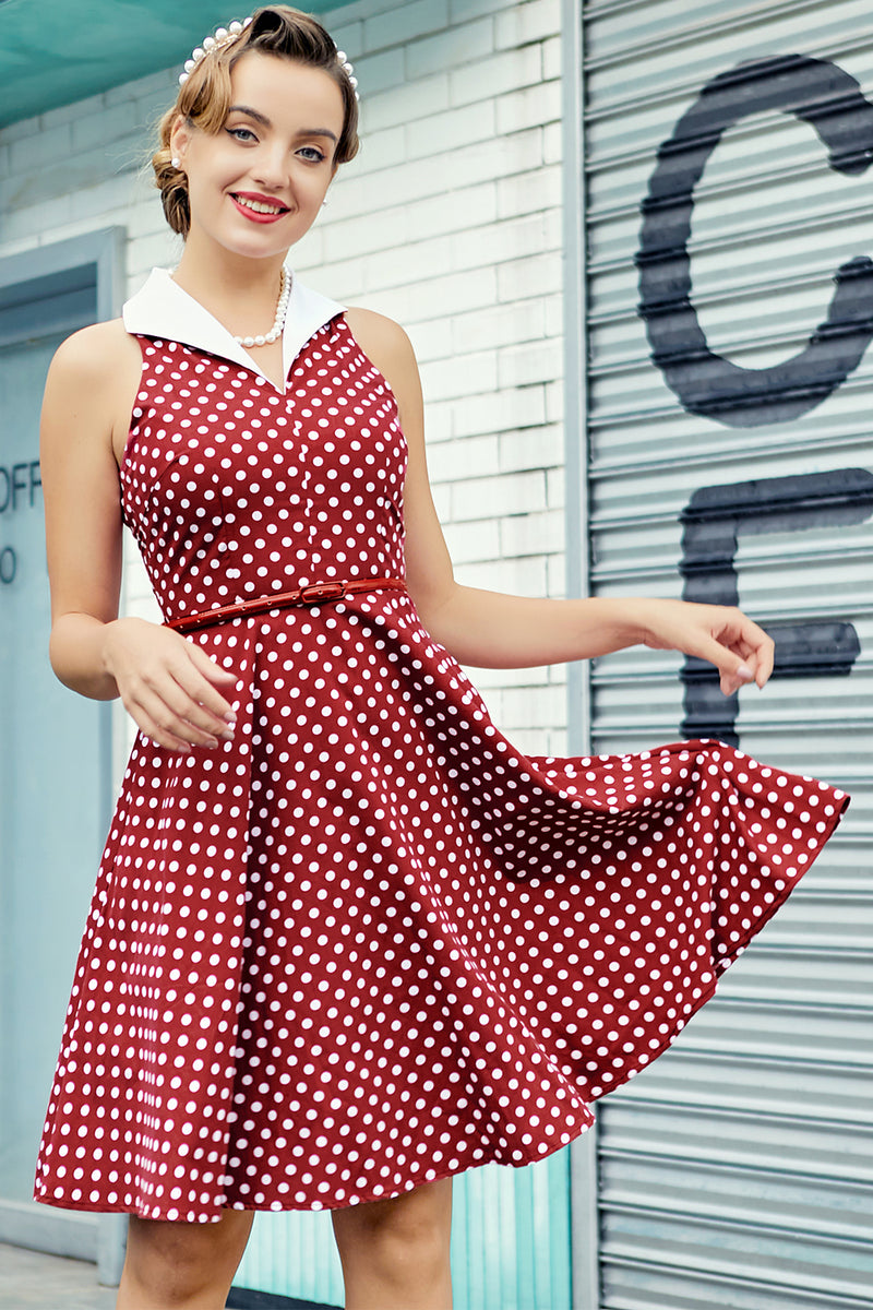 Load image into Gallery viewer, Burgundy Dress with White Polka Dots
