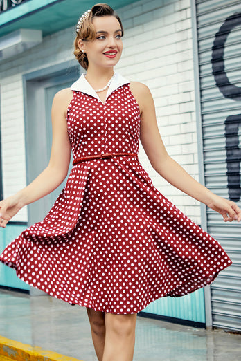 Burgundy Dress with White Polka Dots
