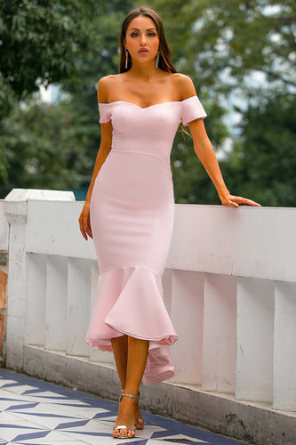 Pink Mermaid High Low Bridesmaid Dress