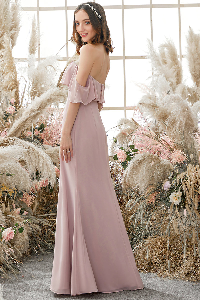 Load image into Gallery viewer, Elegant Off The Shoulder Chiffon Bridesmaid Dress