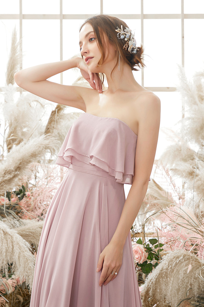 Load image into Gallery viewer, Elegant Strapless Chiffon Bridesmaid Dress