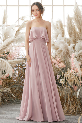 Elegant Strapless Chiffon Bridesmaid Dress