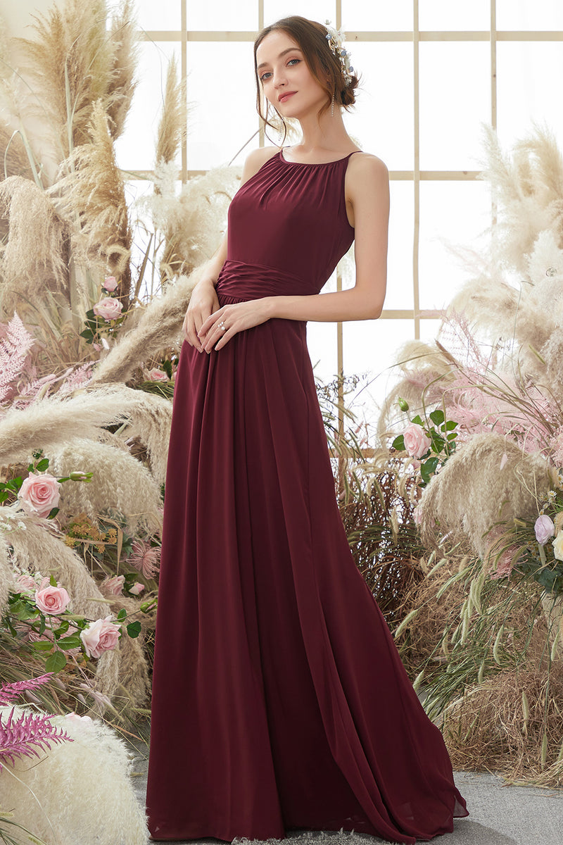 Load image into Gallery viewer, Elegant Burgundy Chiffon Bridesmaid Dress