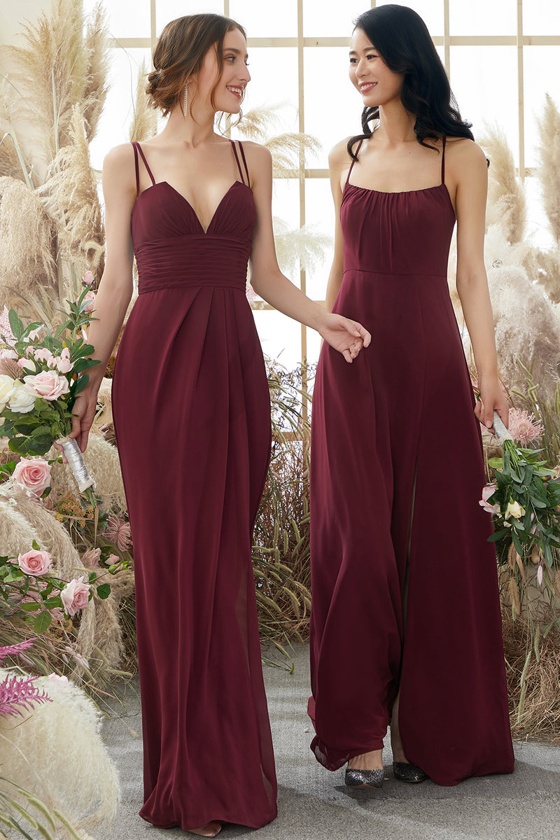 Load image into Gallery viewer, Burgundy Chiffon Bridesmaid Dress