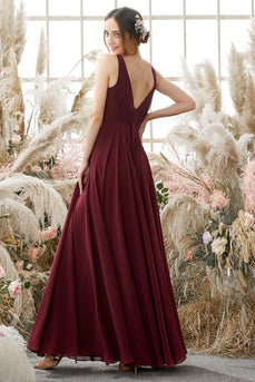 Burgundy V Neck Chiffon Bridesmaid Dress