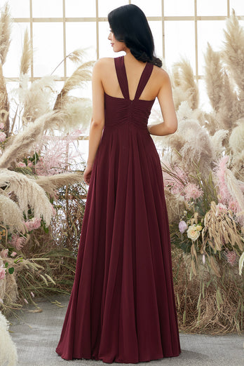 Burgundy Halter Chiffon Bridesmaid Dress