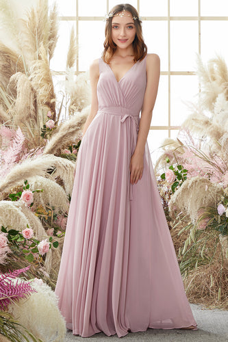Blush V Neck Long Chiffon Bridesmaid Dress
