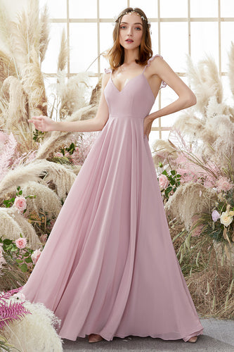 Blush Spaghetti Straps Chiffon Bridesmaid Dress