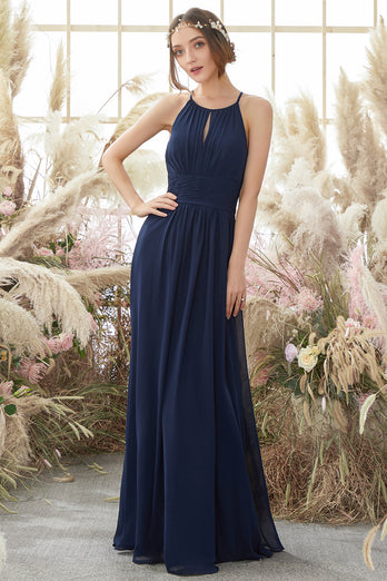 Navy Halter Chiffon Bridesmaid Dress