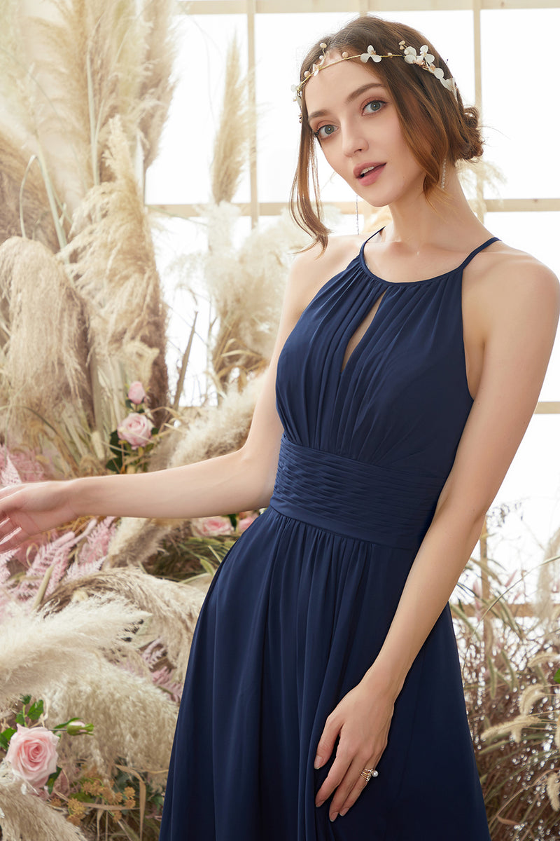 Load image into Gallery viewer, Navy Halter Chiffon Bridesmaid Dress