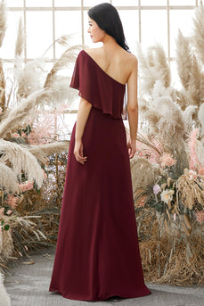 One Shoulder Burgundy Chiffon Bridesmaid Dress
