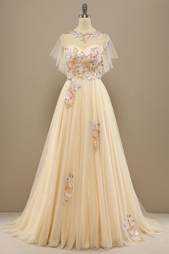 Yellow Long Prom Dress With Appliques