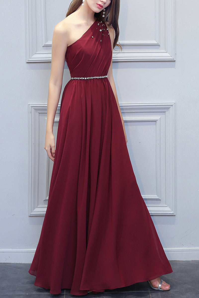 Load image into Gallery viewer, One Shoulder Long Chiffon Bridesmaid Dress With Beading