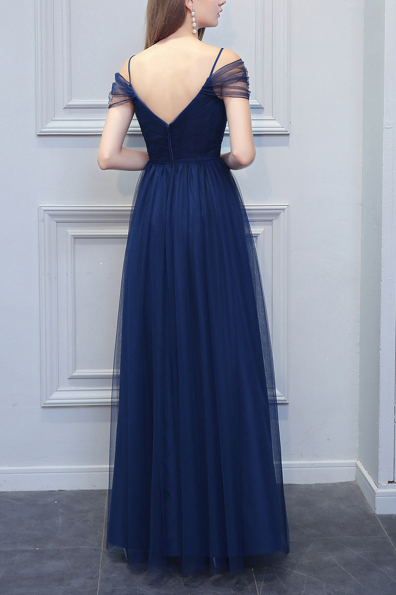 Load image into Gallery viewer, A-line V-neck Long Tulle Bridesmaid Dress