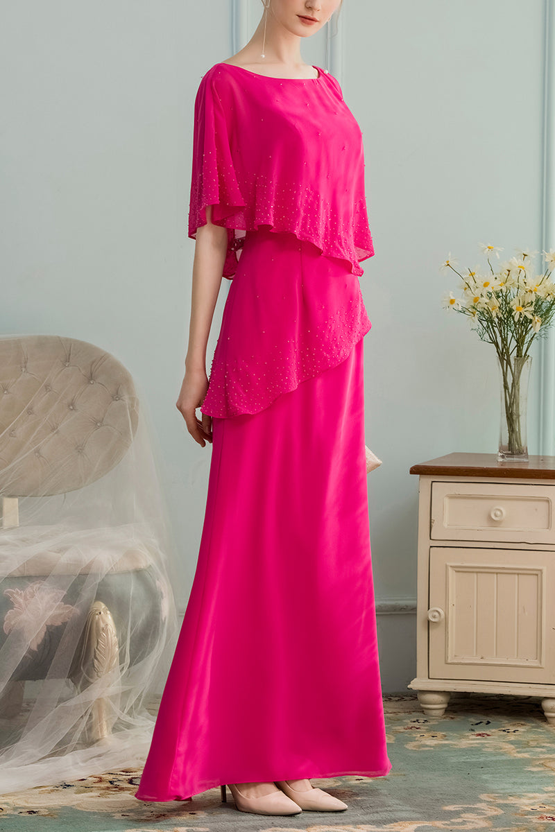 Load image into Gallery viewer, A-line Long Chiffon Bridesmaid Dress With Beading