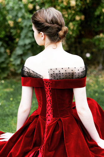 Burgundy Off the Shoulder Velvet Prom Dress
