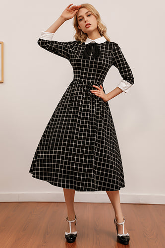 Vintage Plaid Midi Swing Dress