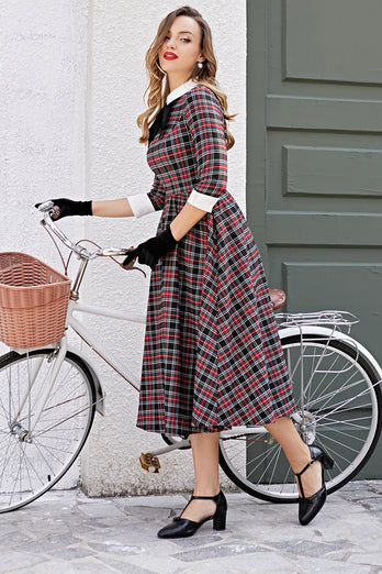 Vintage Black Plaid Midi Swing Dress