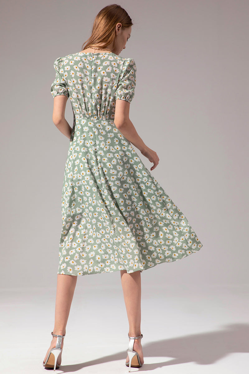 Load image into Gallery viewer, 1950s Floral Print Green Summer Dress