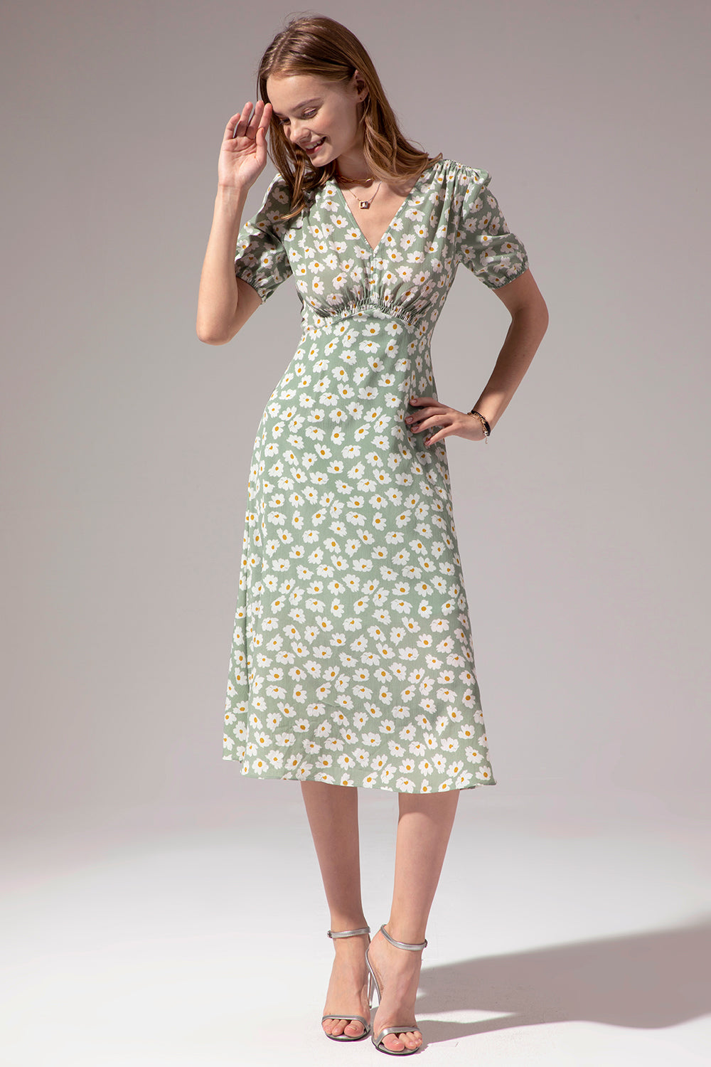 1950s Floral Print Green Summer Dress