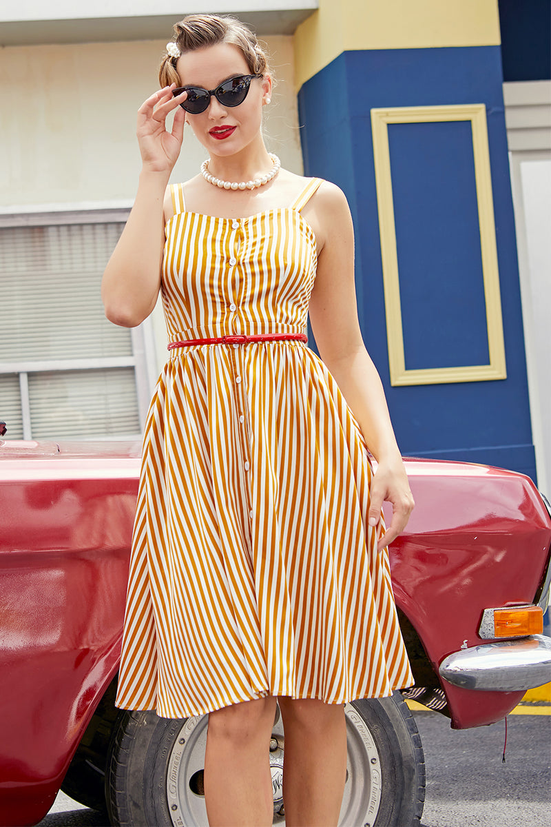 Load image into Gallery viewer, Straps Vintage Fit & Flare Dress