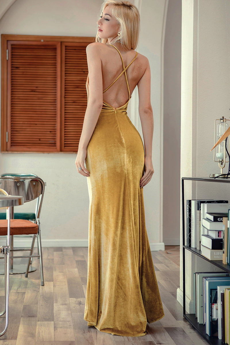 Load image into Gallery viewer, Golden Velvet Evening Party Dress