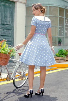 Peter Pans Collar Blue 1950s Dress