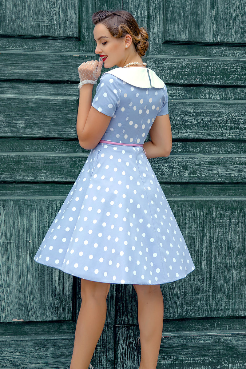 Load image into Gallery viewer, Peter Pans Collar Blue 1950s Dress