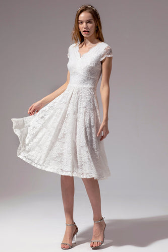V Neck Midi White Lace Dress