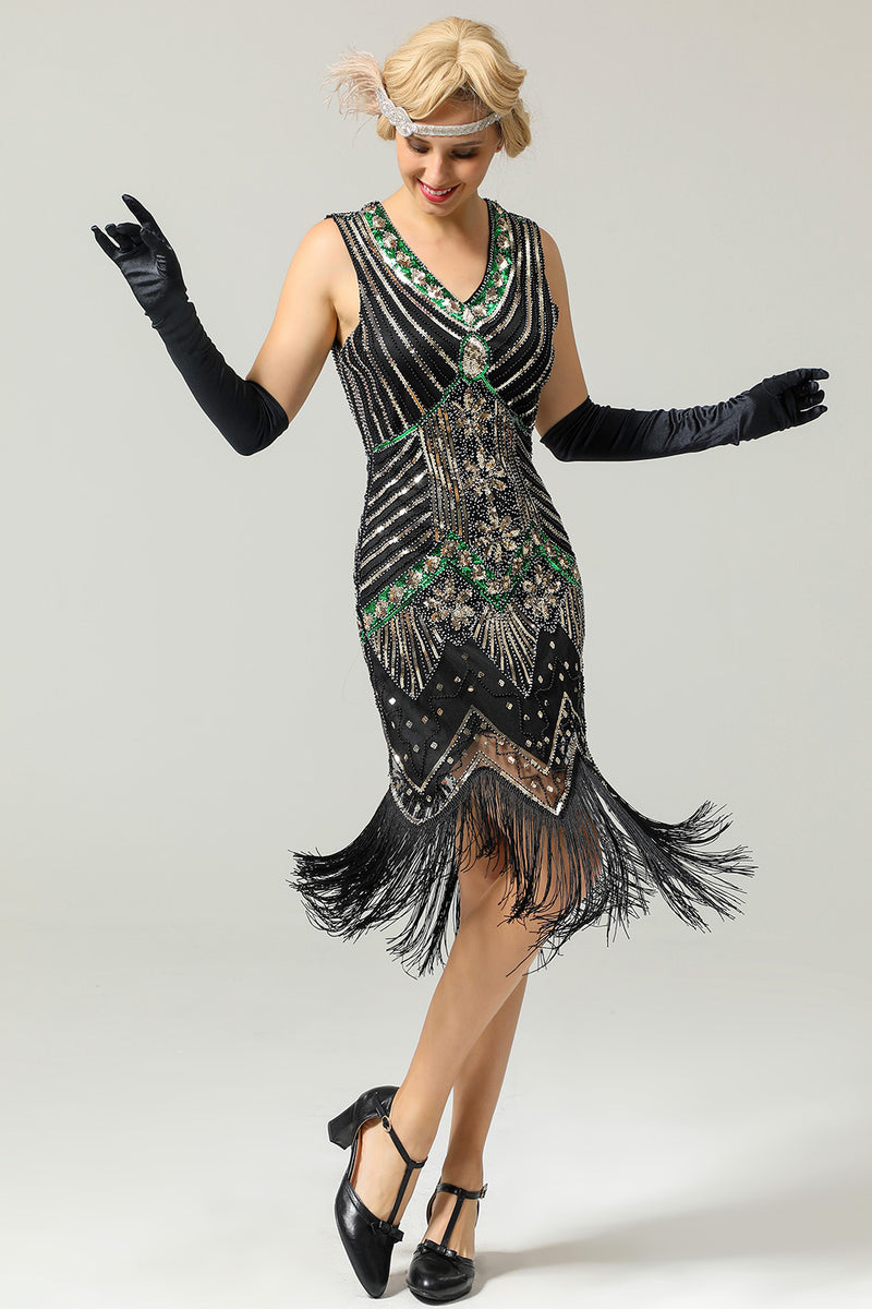 Glitter Fringe black 1920s dress