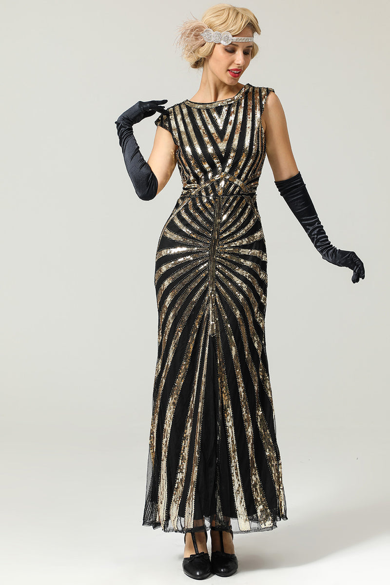 black and gold Great gatsby dress with silver headband and black gloves