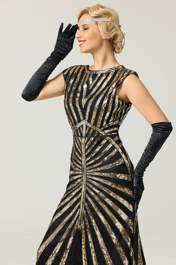 Gold Mermaid 1920s Sequined Flapper Dress