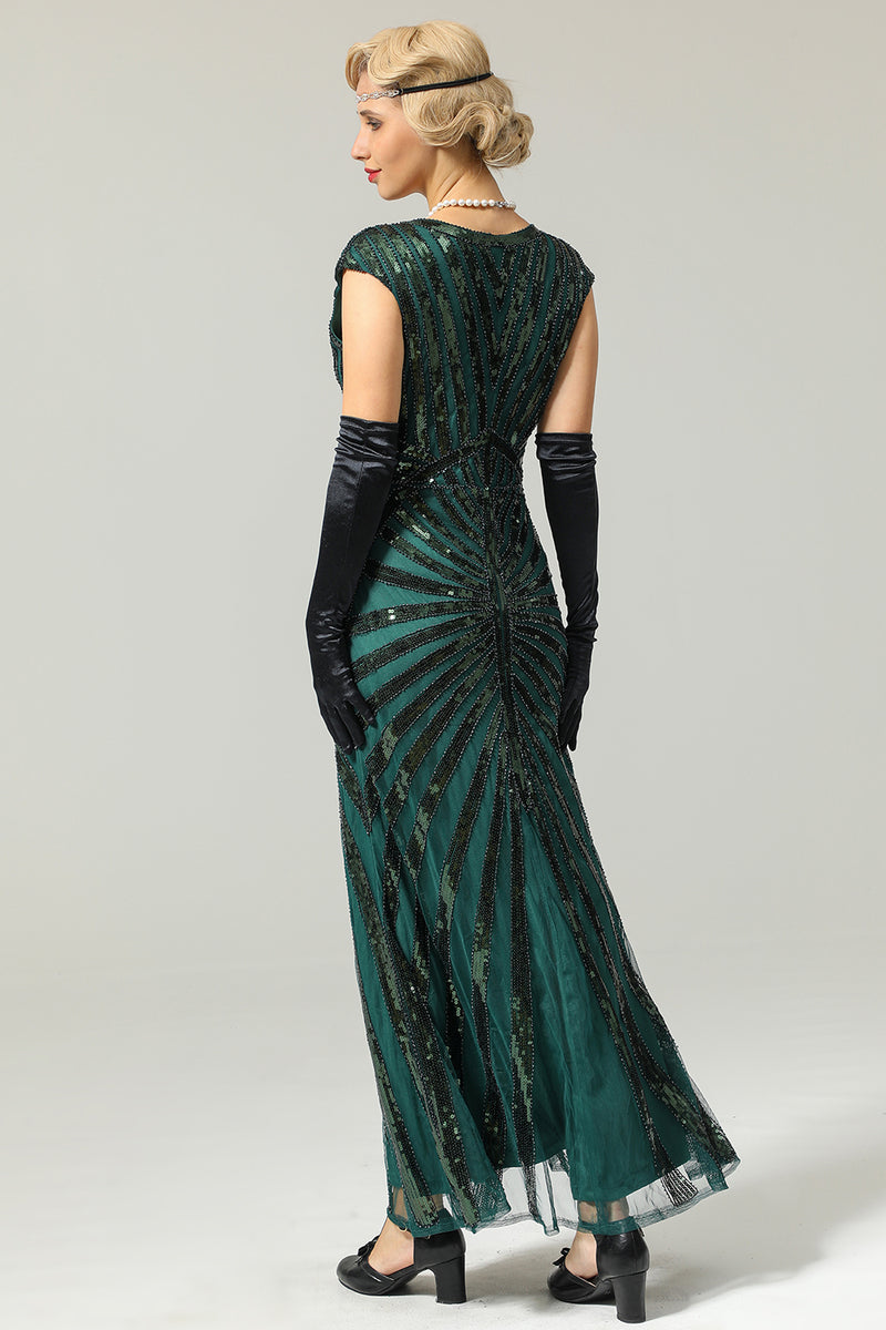 Load image into Gallery viewer, Green Mermaid 1920s Sequined Flapper Dress