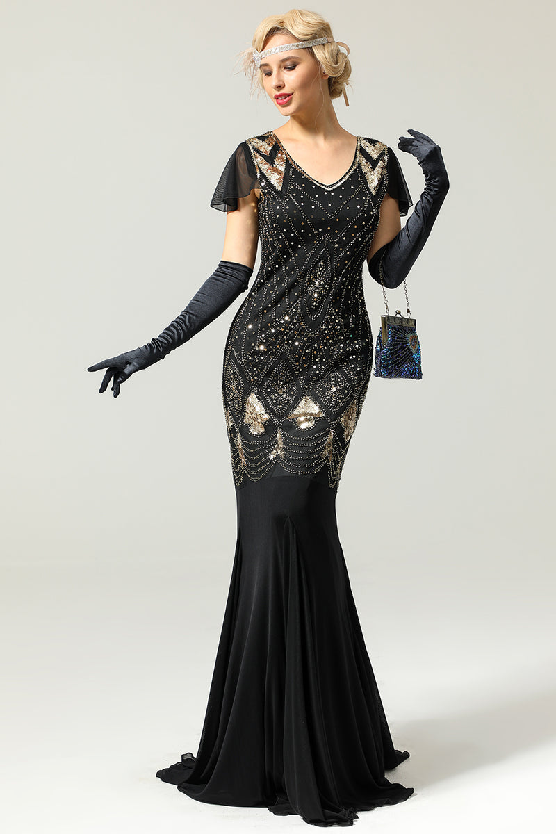 Black and Gold 1920 evening dress with Sequins