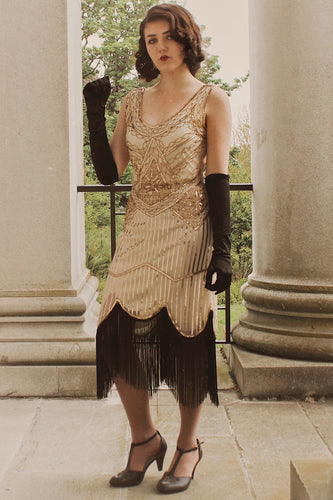 1920s Champagne Fringe Sequins Dress