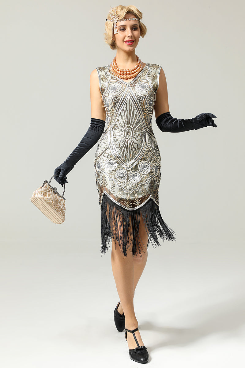 Silver 1920 cocktail dresses