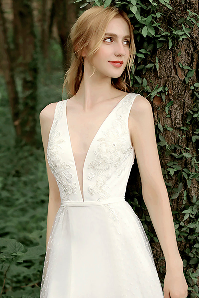 Load image into Gallery viewer, A Line Deep V Neck White Wedding Dress with Appliques