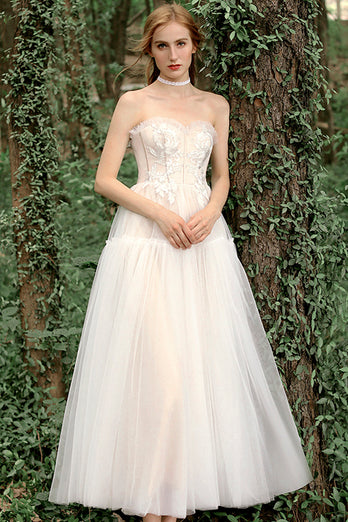 Champagne Strapless Tea-Length Wedding Dress