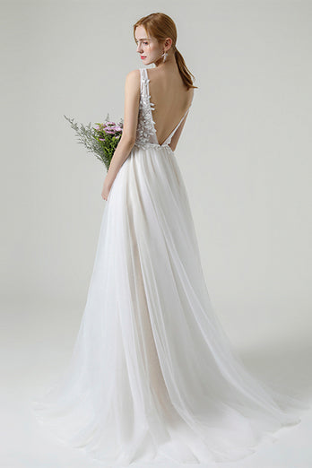 Champagne Beaded Appliques Long Wedding Dress